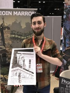 Eoin at C2E2 holding my Daredevil Commission